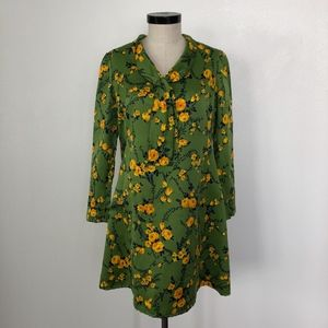 Vintage Green and Yellow Floral Long Sleeve Dress